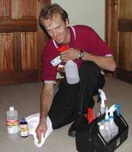 Michael Carmody and his stain removal kit